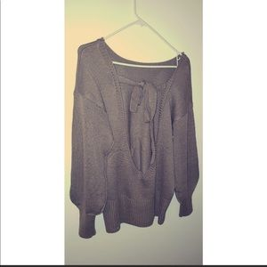 Sweaters - Brown Backless Sweater